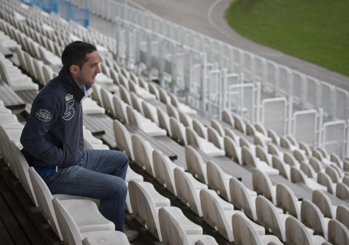 In this Nov. 5, 2012 photo, Croatian soccer player Mario Cizmek is seen at a stadium in Zagreb. Cizmek was sentenced involvement in match fixing. Former player Mario Cizmek was convicted of rigging games in Croatia's first division in 2010. At his trial and in subsequent interviews with The Associated Press, he spoke about the unwritten rules of match-fixing (AP Photo/Darko Bandic)