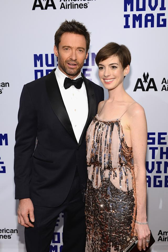 NEW YORK, NY - DECEMBER 11:  Actress Anne Hathaway and actor Hugh Jackman attend the Museum of Moving Images salute to Hugh Jackman at Cipriani Wall Street on December 11, 2012 in New York City.  (Photo by Larry Busacca/Getty Images)