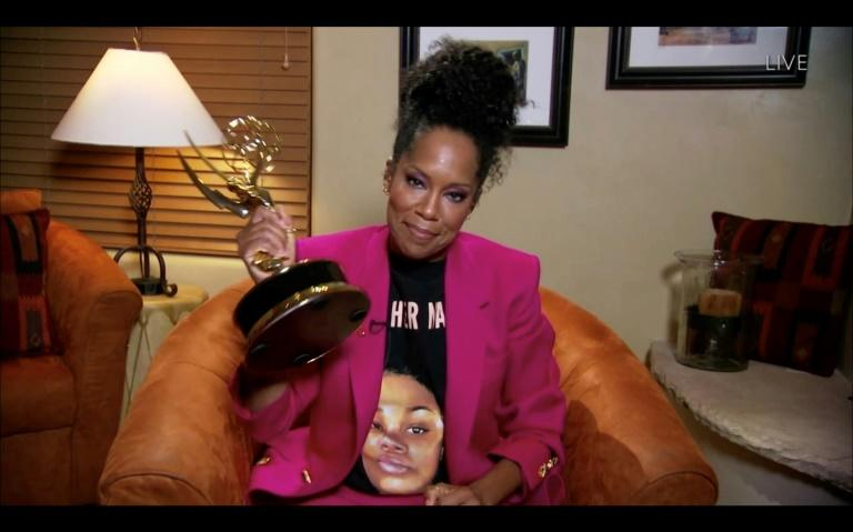 """Regina King, who won the Emmy for best actress in a limited series for """"Watchmen,"""" wore a tee-shirt bearing the image of Breonna Taylor -- an African-American woman killed in a police shooting in her own home"""