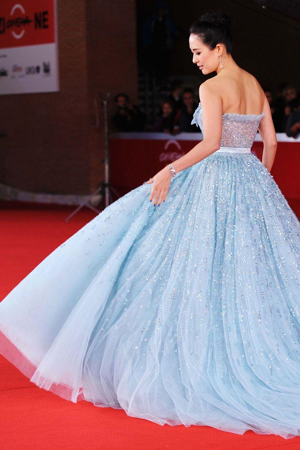 <p>Zhang Ziyi looked like a fairy-tale princess at the<em> Love for Life</em> premiere in Rome, wearing a sparkling blue gown from the Christian Dior Resort 2011 collection.</p>
