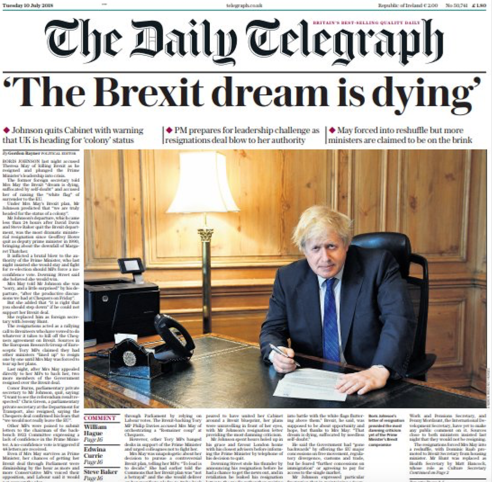 <em>Scathing – Mr Johnson's resignation letter said the Brexit dream was 'dying' (Picture: Twitter/Daily Telegraph)</em>