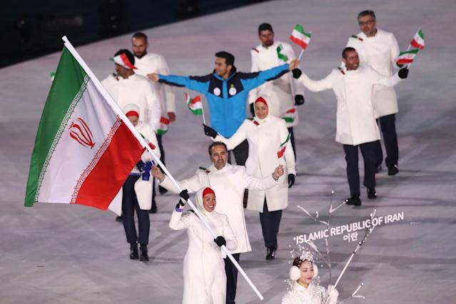 <p>Samaneh Beyrami Baher Flag bearer of Islamic Republic of Iran during the Opening Ceremony of the PyeongChang 2018 Winter Olympic Games at PyeongChang Olympic Stadium on February 9, 2018 in Pyeongchang-gun, South Korea. (Photo by Ronald Martinez/Getty Images) </p>