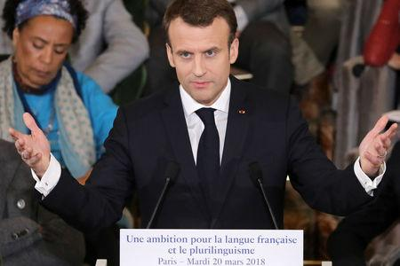 France's President Macron presents measures to boost use of French abroad on the International Day of Francophonie