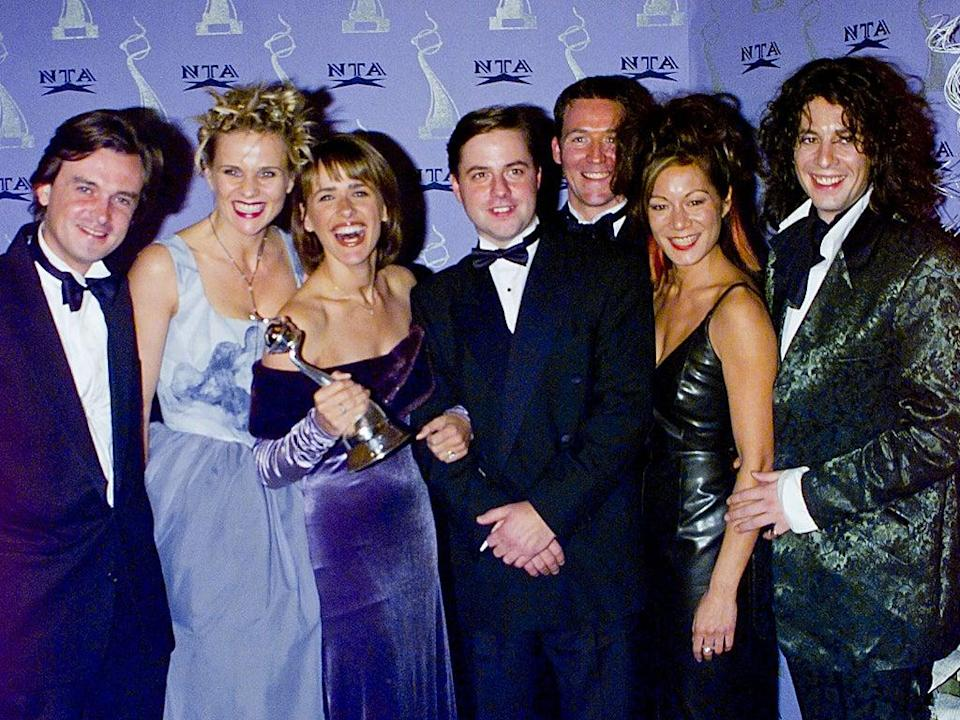 Crimes of fashion: The cast of classic 'Changing Rooms' collect a National Television Award in 1998 (Alan Davidson/Shutterstock)