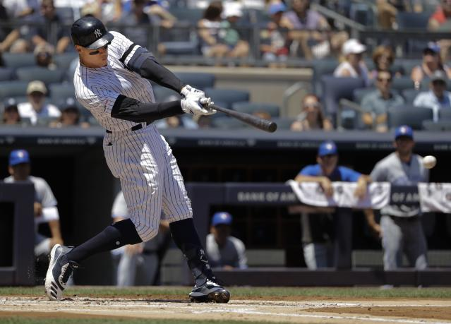 New York Yankees' Aaron Judge hits a single during the first inning of a baseball game against the Toronto Blue Jays Saturday, July 13, 2019, in New York. (AP Photo/Frank Franklin II)