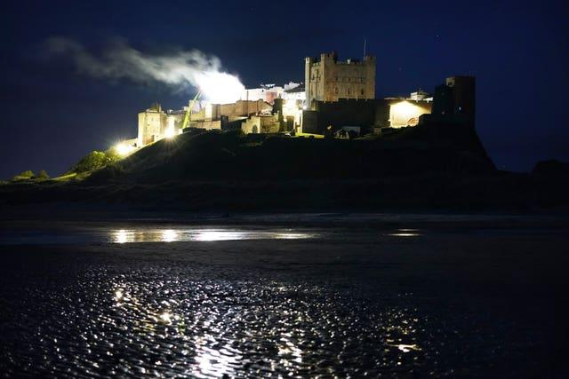 Filming at Bamburgh castle
