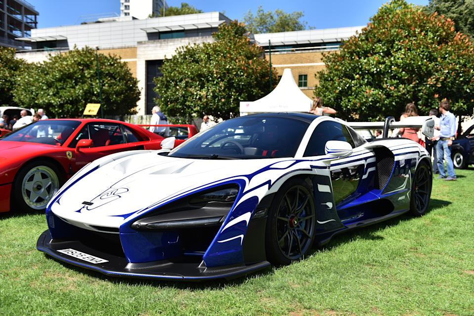 LONDON, ENGLAND - AUGUST 20: A 2018 McLaren Senna, chassis 001 with a bespoke white and aurora blue paint scheme, complete with the outline of Ayrton Senna's home formula one circuit, Interlagos on the nose during the London Concours at Honourable Artillery Company on August 20, 2020 in London, England. The London Concours, presented by Montres Breguet, is a luxurious automotive garden party hosted right in the heart of the City of London and will see 80 of the world's most precious cars. The event will be the UK's first major automotive event to take place since February with procedures in place to comply with social distancing guidance.  (Photo by John Keeble/Getty Images)