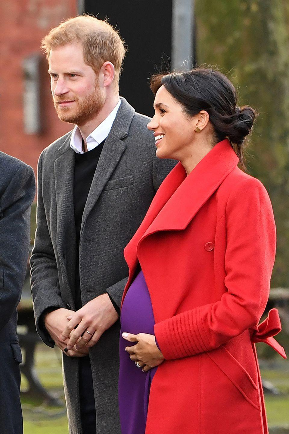 <p>While Meghan generally stuck to wearing black for a lot of outings during her pregnancy, in Birkenhead in January 2019, where she was visiting with husband Prince Harry on their first official engagement of 2019 together, the Duchess opted for a bump-hugging bright purple dress. Meghan's bump looked pretty pronounced by then, even though she had almost four months of pregnancy left to go.<br></p>
