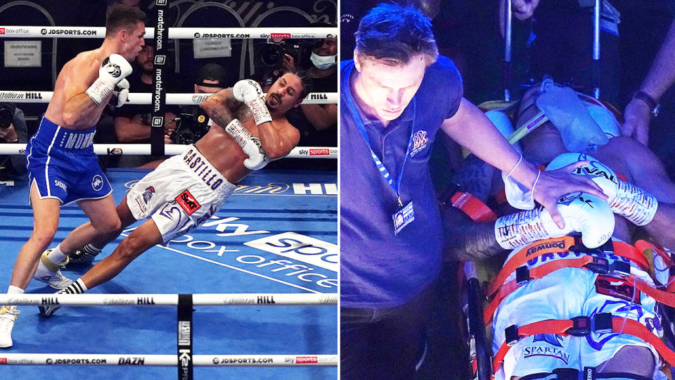 Lenin Castillo, pictured here being rushed to hospital after the brutal knockout.