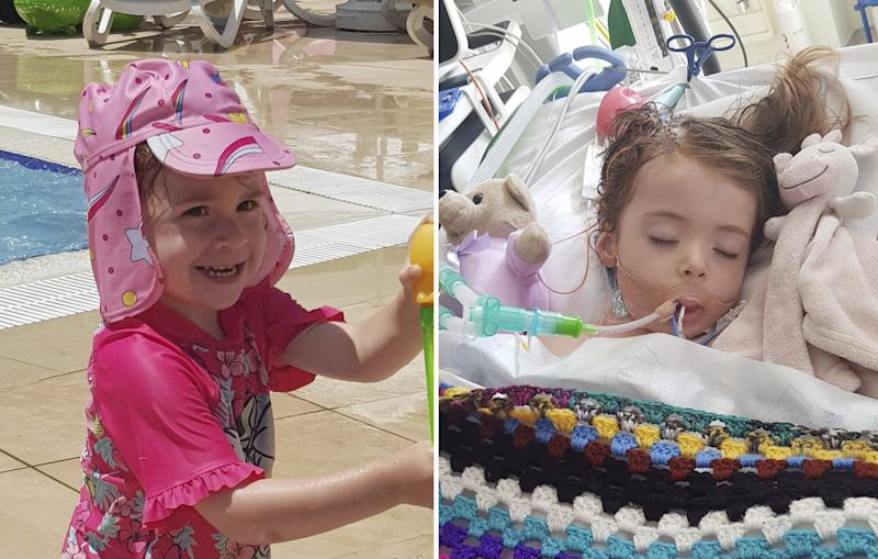 Allie Birchall, 2, contracted E.Coli poisoning while on holiday in Turkey. (SWNS)