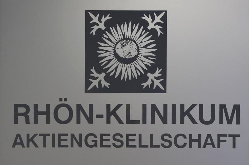Logo of German healthcare company Rhon-Klinikum AG is pictured in Bad Neustadt near Fulda