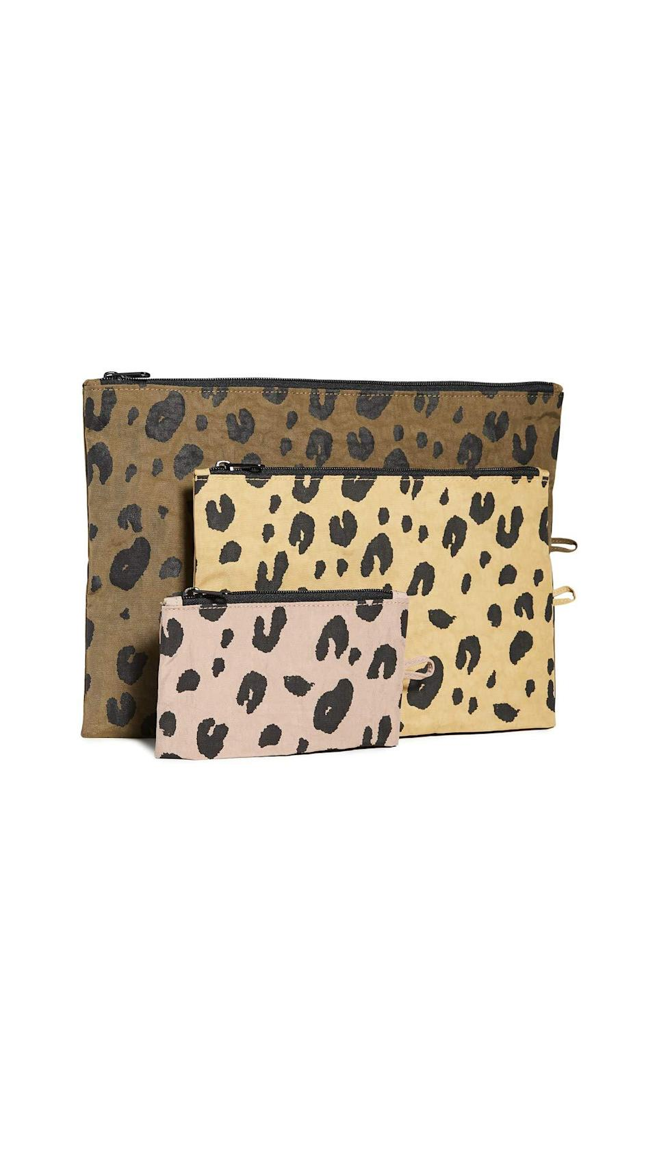 """<strong><h3>Baggu Go Pouch Set</h3></strong><br>R29 readers' go bananas for Baggu — namely this very chic and space-savvy trio of travel pouches that's currently getting the Prime-Day promo treatment with a 15%-off markdown. <br><br><strong>4.6 out of 5 stars and 128 reviews</strong><br><br><strong>Baggu</strong> Go Pouch Set, $, available at <a href=""""https://amzn.to/2FuhzXV"""" rel=""""nofollow noopener"""" target=""""_blank"""" data-ylk=""""slk:Amazon"""" class=""""link rapid-noclick-resp"""">Amazon</a>"""