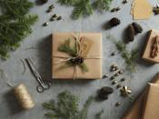 """<p>You can create something super sophisticated—even if you don't have any wrapping paper. Simply run outside and clip some evergreen sprigs and gather a few pinecones. Attach the natural elements to any box with a little twine. </p><p><a class=""""link rapid-noclick-resp"""" href=""""https://www.amazon.com/KINGLAKE-Natural-Christmas-Gardening-Applications/dp/B00WHXQIJA?tag=syn-yahoo-20&ascsubtag=%5Bartid%7C10072.g.34015639%5Bsrc%7Cyahoo-us"""" rel=""""nofollow noopener"""" target=""""_blank"""" data-ylk=""""slk:SHOP TWINE"""">SHOP TWINE</a></p>"""