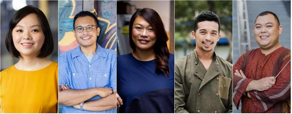 Young Artist Award recipients (from left): playwright Faith Ng, visual artist Hilmi Johandi, sound designer Lim Ting Li, dancer and choreographer Sufri Juwahir, and music director Zulkifli Mohamed Amin. (PHOTOS: National Arts Council)