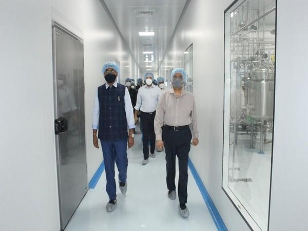 Union Minister of State for Chemicals and Fertilizers Mansukh Mandaviya at the Zydus Biotech Park in Ahmedabad. (Photo/ANI)