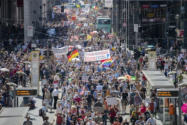 Thousands march along the Friedrichstrasse (Christoph Soeder/AP)