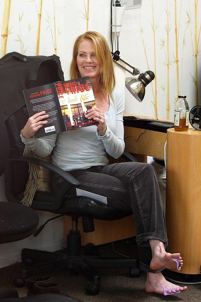 """CSI"" star Marg Helgenberger treats herself to a pedicure while reading Richard Price's crime novel ""Lush Life."" Ginsbug-Spaly/<a href=""http://www.x17online.com"" target=""new"">X17 Online</a> - March 25, 2008"