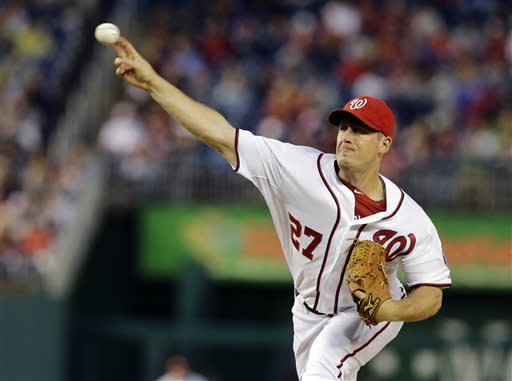 Washington Nationals starting pitcher Jordan Zimmermann (27) throws during the first inning of a baseball game against the Detroit Tigers at Nationals Park, Wednesday, May 8, 2013, in Washington. (AP Photo/Alex Brandon)