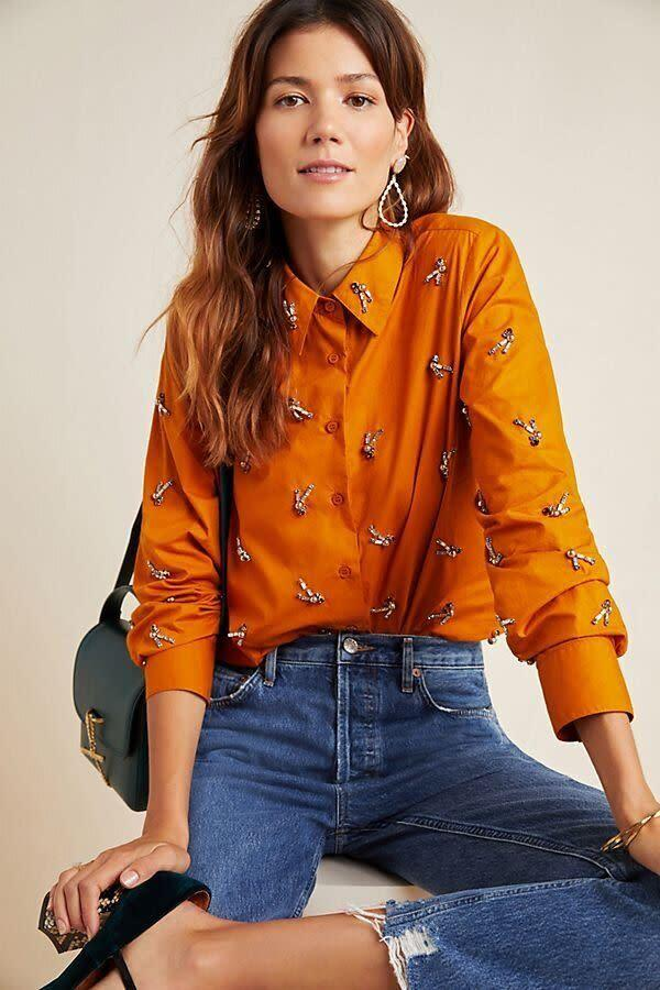 """This top comes in sizes XS to L. <a href=""""https://fave.co/39p6As0"""" rel=""""nofollow noopener"""" target=""""_blank"""" data-ylk=""""slk:Find it at Anthropologie for $158"""" class=""""link rapid-noclick-resp"""">Find it at Anthropologie for $158</a>."""