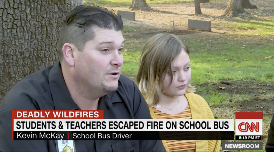 """Kevin McKay is being deemed the """"bus driver from heaven"""" after driving two dozen students and teachers to safety. (Photo: CNN)"""