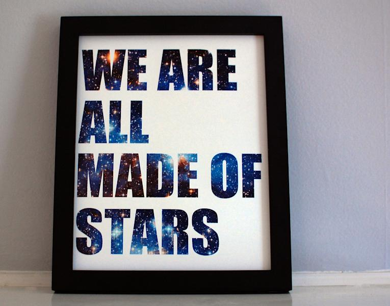 """This image taken on November 6, 2012 provided by Pillars of Creation shows a """"We Are All Made Of Stars"""" framed print (www.etsy.com/shop/pillarsofcreation) in Portland, Oregon. (AP Photo/Pillars of Creation, Rachel Jacks)"""