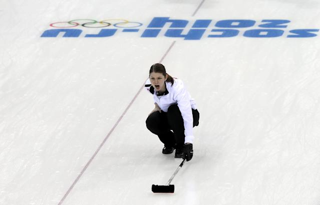 Denmark's skip Lene Nielsen shouts instructions to her teammates during the women's curling competition against Russia at the 2014 Winter Olympics, Monday, Feb. 10, 2014, in Sochi, Russia. (AP Photo/Wong Maye-E)