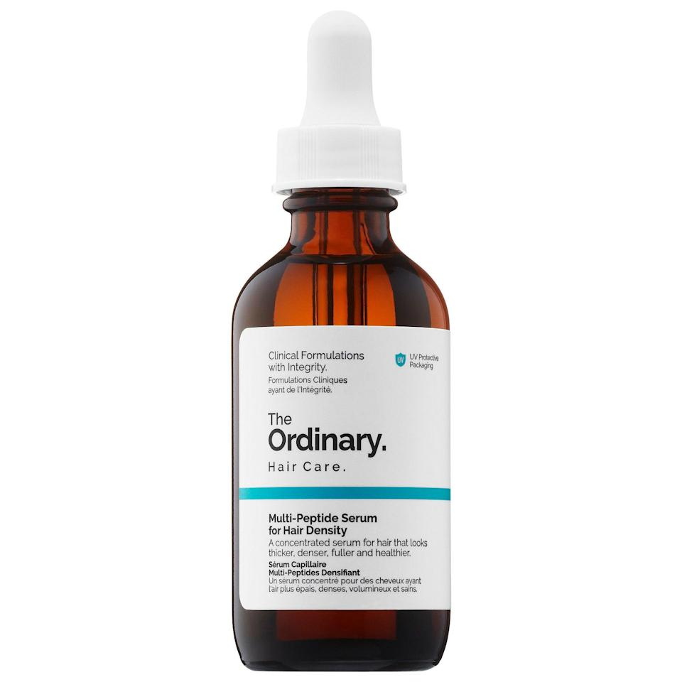 "<h3>The Ordinary Multi-Peptide Serum for Hair Density</h3> <br>It's not uncommon for moms to experience changes in hair thickness or texture postpartum. Incorporating a treatment to stimulate the health of the scalp can help improve loss with continued use. (Just be sure to consult a derm before using, and to explore other options, too.)<br><br><strong>The Ordinary</strong> Multi-Peptide Serum for Hair Density, $, available at <a href=""https://go.skimresources.com/?id=30283X879131&url=https%3A%2F%2Fwww.sephora.com%2Fproduct%2Fmulti-peptide-serum-for-hair-density-P442831"" rel=""nofollow noopener"" target=""_blank"" data-ylk=""slk:Sephora"" class=""link rapid-noclick-resp"">Sephora</a><br>"