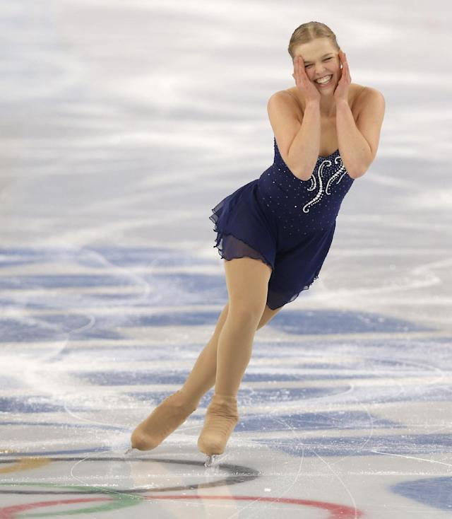 Nicole Rajicova of Slovakia competes in the women's short program figure skating competition at the Iceberg Skating Palace during the 2014 Winter Olympics, Wednesday, Feb. 19, 2014, in Sochi, Russia. (AP Photo/Vadim Ghirda)