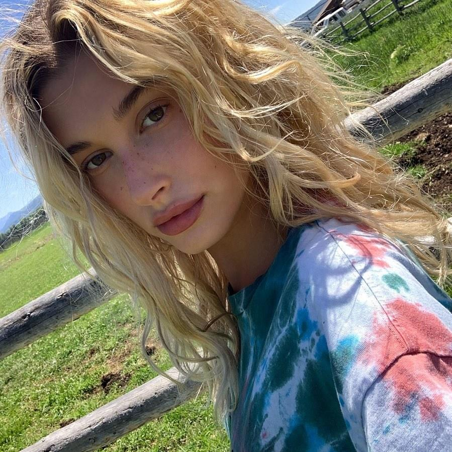 Hailey Bieber looked fresh-faced on a farm. Photo courtesy of Instagram.