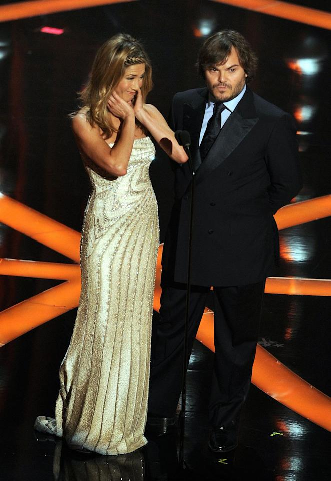"<p>Five years after their divorce, Aniston was forced to <a rel=""nofollow"" href=""http://www.marieclaire.co.uk/news/celebrity-news/angelina-jolie-and-jennifer-aniston-cross-paths-at-oscars-199236"">present an Oscar</a> right in front of Pitt and his girlfriend at the time, Angelina Jolie-and she was noticeably uncomfortable (as were we) about the whole thing.</p>"