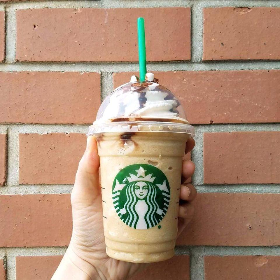 <p>If you're in the mood for a rich drink, this one sounds like a winner. Toffee nut syrup is blended with coffee, milk, and ice. It's then topped with caramel sauce, whipped cream, and mocha drizzle. Yum!</p>