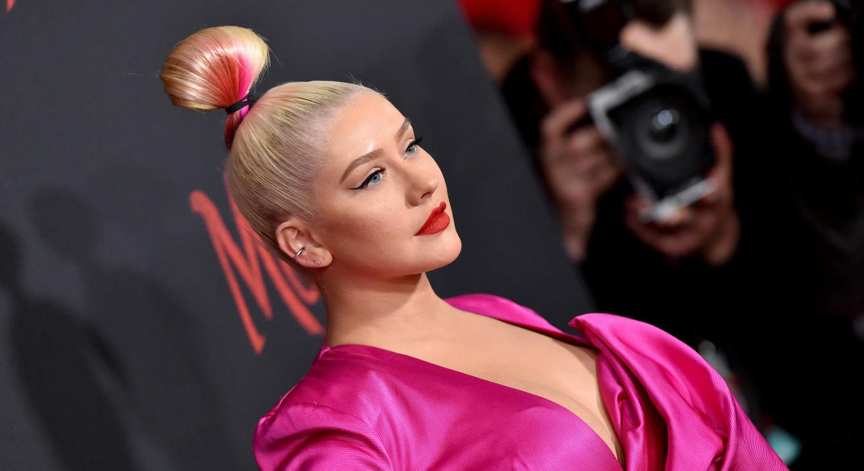 Christina Aguilera has promoted an upcoming festival appearance with a daring pose. (Getty Images)