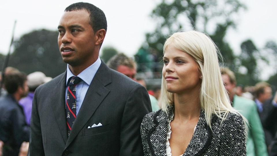 KILDARE, IRELAND - SEPTEMBER 21: Tiger Woods and  his wife Elin look on during the Opening Ceremony of the 2006 Ryder Cup at The K Club on September 21, 2006 in Straffan, Co.