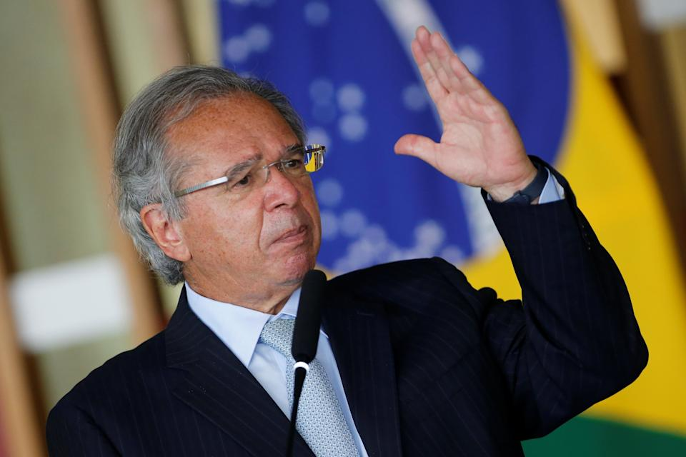 Brazil's Economy Minister Paulo Guedes delivers a statement at the Itamaraty Palace in Brasilia, Brazil, October 20, 2020. REUTERS/Adriano Machado