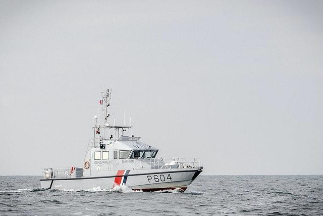 A French patrol boat as migrants were picked up by French authorities in the English Channel
