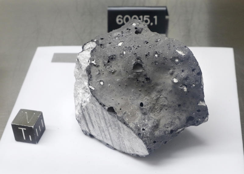 Collected during Apollo 16, an anorthosite sample believed to be the oldest rock collected during the moon missions is displayed in the lunar lab at the NASA Johnson Space Center Monday, June 17, 2019, in Houston. Scientists also believe it to be from the original crust of the moon just after it cooled. (Photo: Michael Wyke/AP)