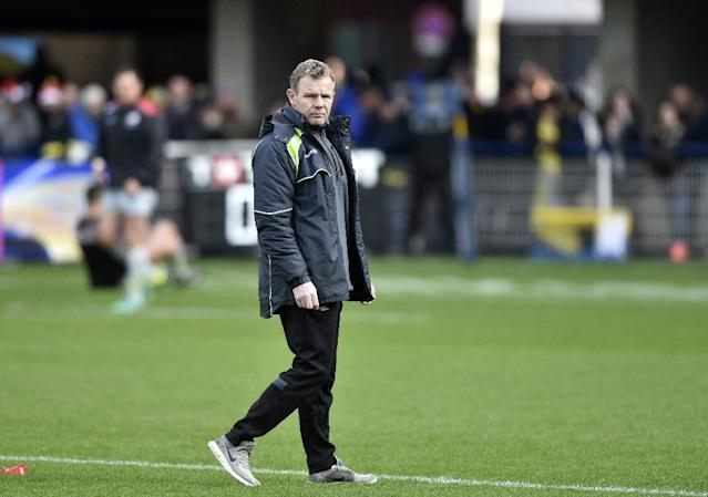 Saracens' coach from Northern Ireland Mark McCall, whose team crushed Northampton in the English Premiership, is seen here ahead of the European Rugby Union Champions Cup match between Clermont and Saracens at The Michelin Stadium in December, 2017 (AFP Photo/THIERRY ZOCCOLAN)
