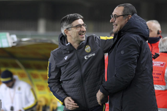 Verona coach and Ivan Juric, left, and Juventus coach Maurizio Sarri before the Serie A soccer match between Hellas Verona and Juventus at the Stadio Bentegodi in Verona, Italy, Saturday Feb. 8, 2020. (Paola Garbuio/LaPresse via AP)