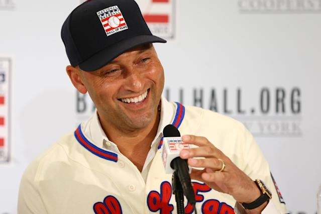 NEW YORK, NEW YORK - JANUARY 22: Derek Jeter speaks to the media after being elected into the National Baseball Hall of Fame Class of 2020 on January 22, 2020 at the St. Regis Hotel in New York City. The National Baseball Hall of Fame induction ceremony will be held on Sunday, July 26, 2020 in Cooperstown, NY. (Photo by Mike Stobe/Getty Images)