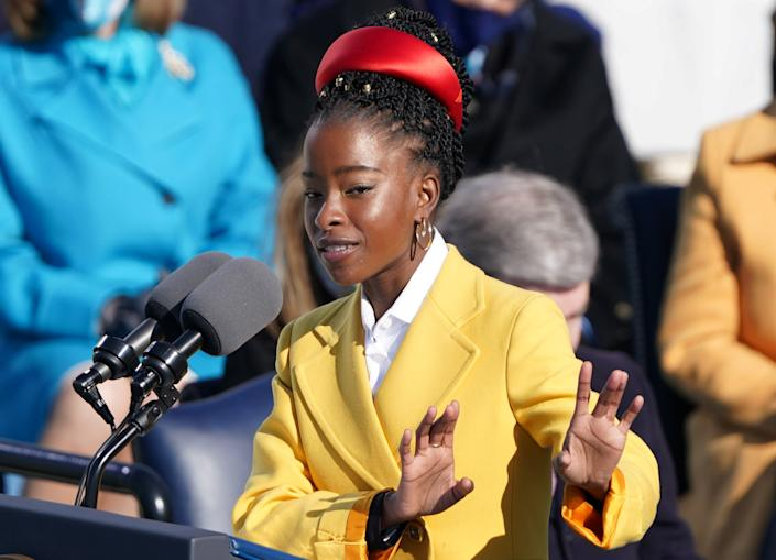 Amanda Gorman recites a poem during the inauguration of Joe Biden as the 46th President of the United States. (Kevin Lamarque/Reuters)