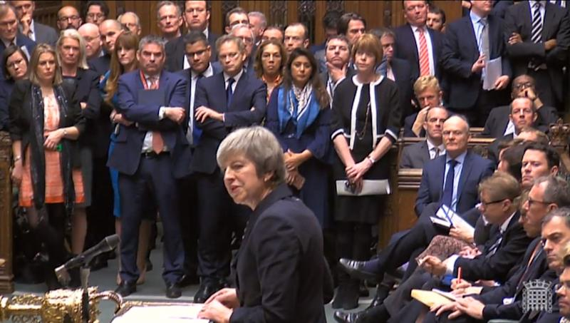 Mrs May said that if the vote had gone ahead, the government would have been defeated 'by a significant margin'. (PA)