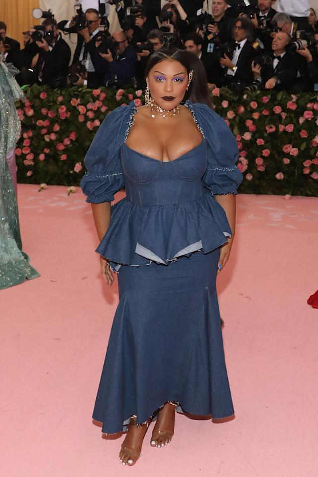 <p>The 2019 Met Gala was all about camp, so Paloma Elsesser chose this Brock Collection denim look that cinched in at the waist. I'm only a little bit obsessed with how well this showed off all her curves.</p>