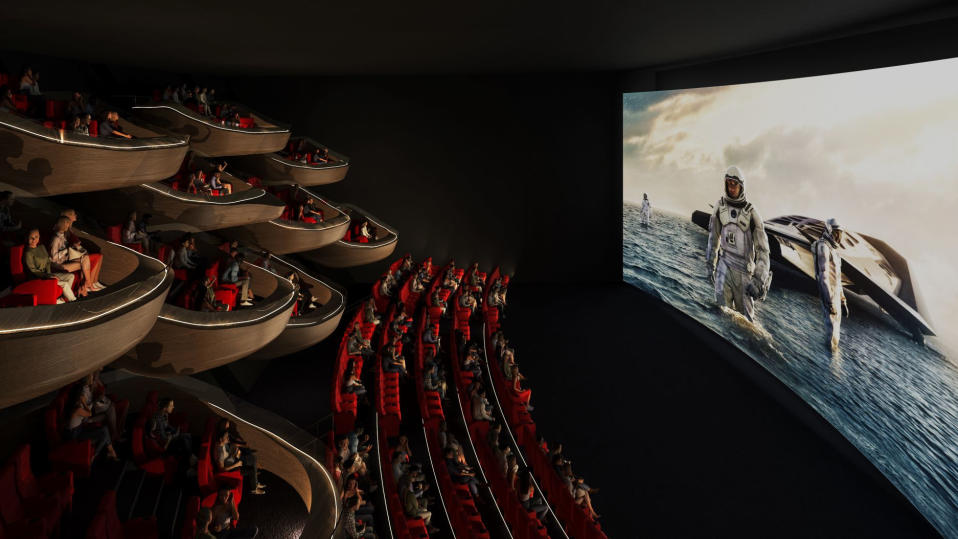 Pod-based cinema viewing is an idea posed by French architecture firm Ōma Cinema. (Credit: Ōma Cinema)