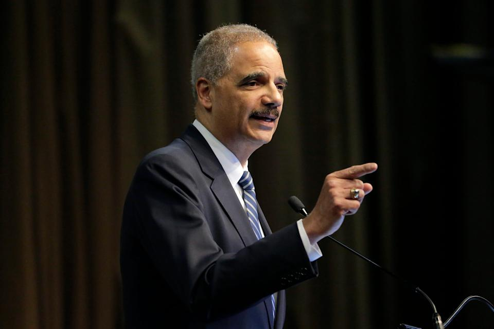 Former U.S. Attorney General Eric Holder says the 2020 presidential election is the most consequential of his lifetime.
