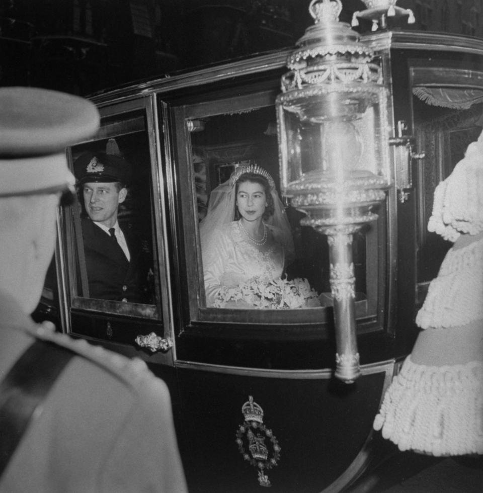 Princess Elizabeth and Prince Philip leaving Westminister Abbey from their Royal Wedding.  (Photo by Frank Scherschel/The LIFE Picture Collection via Getty Images)