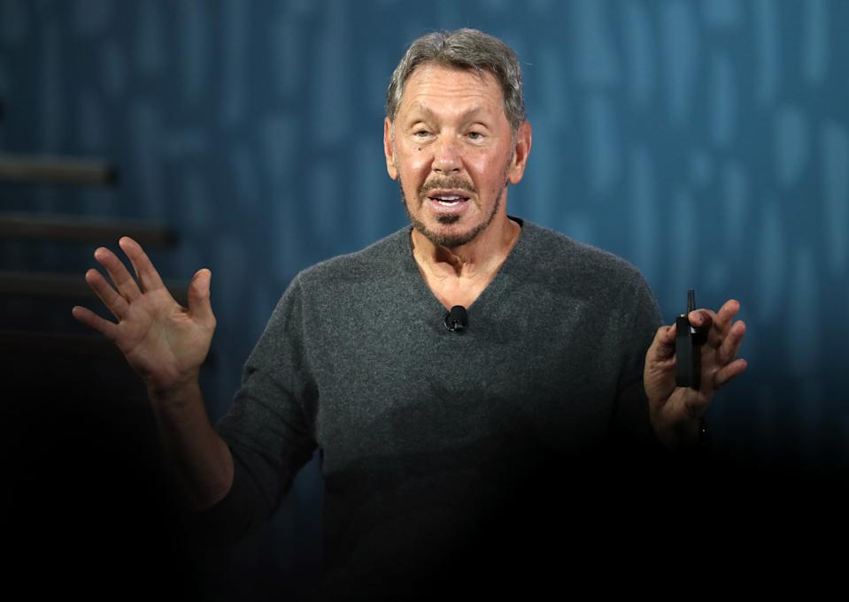 SAN FRANCISCO, CALIFORNIA - SEPTEMBER 16: Oracle chairman of the board and chief technology officer Larry Ellison delivers a keynote address during the 2019 Oracle OpenWorld on September 16, 2019 in San Francisco, California. Oracle chairman of the board and chief technology officer Larry Ellison kicked off the 2019 Oracle OpenWorld with a keynote address. The annual convention runs through September 19.  (Photo by Justin Sullivan/Getty Images)