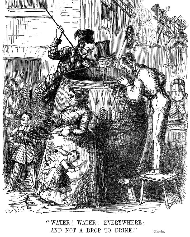 'Water! Water! Everywhere; and not a Drop to Drink': Another Punch cartoon, this one on the London outbreak of 1849.