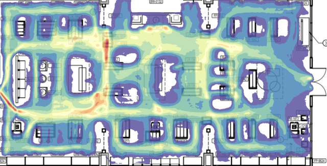 Data from the cameras can be turned into a heat map, showing where customers and employees go. (RetailNext)