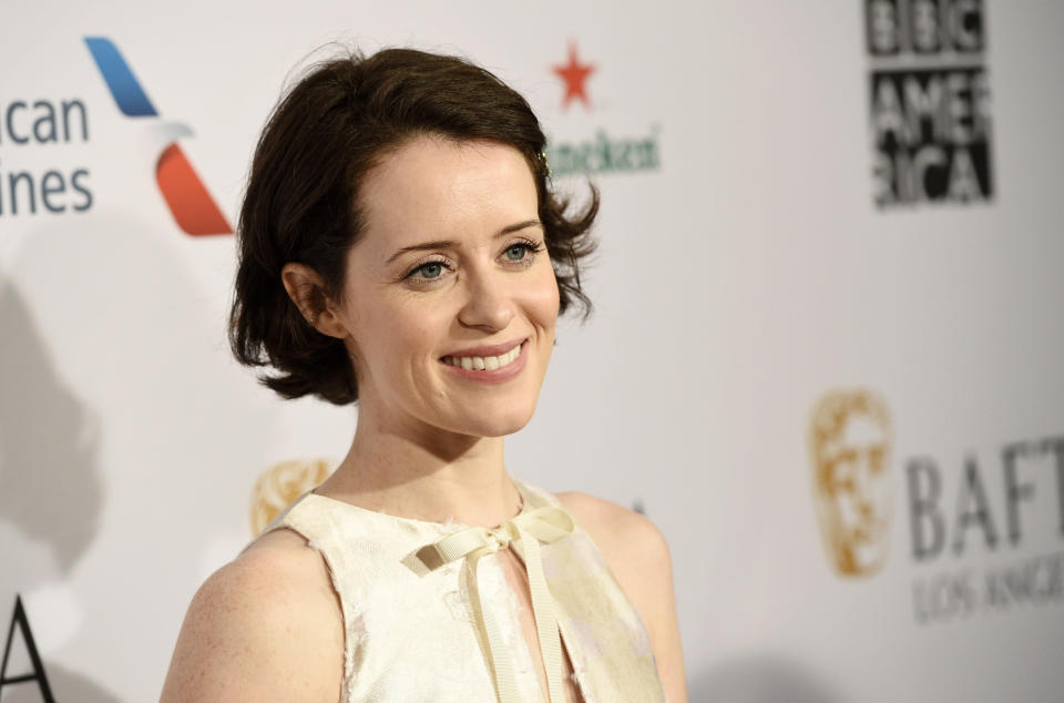 Actress Claire Foy poses at the 2019 BAFTA Tea Party at the Four Seasons Hotel, Saturday, Jan. 5, 2019, in Los Angeles. (Photo by Chris Pizzello/Invision/AP)
