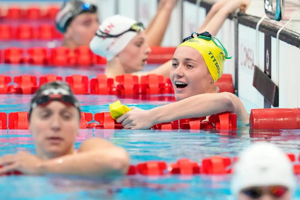 Ariarne Titmus of Australia and Katie Ledecky of the United States after the final.